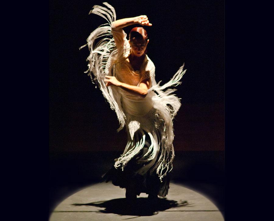 El duende del Tablao flamenco Las Tablas expresado en los flecos del mantón de la bailaora Marisol Navarro