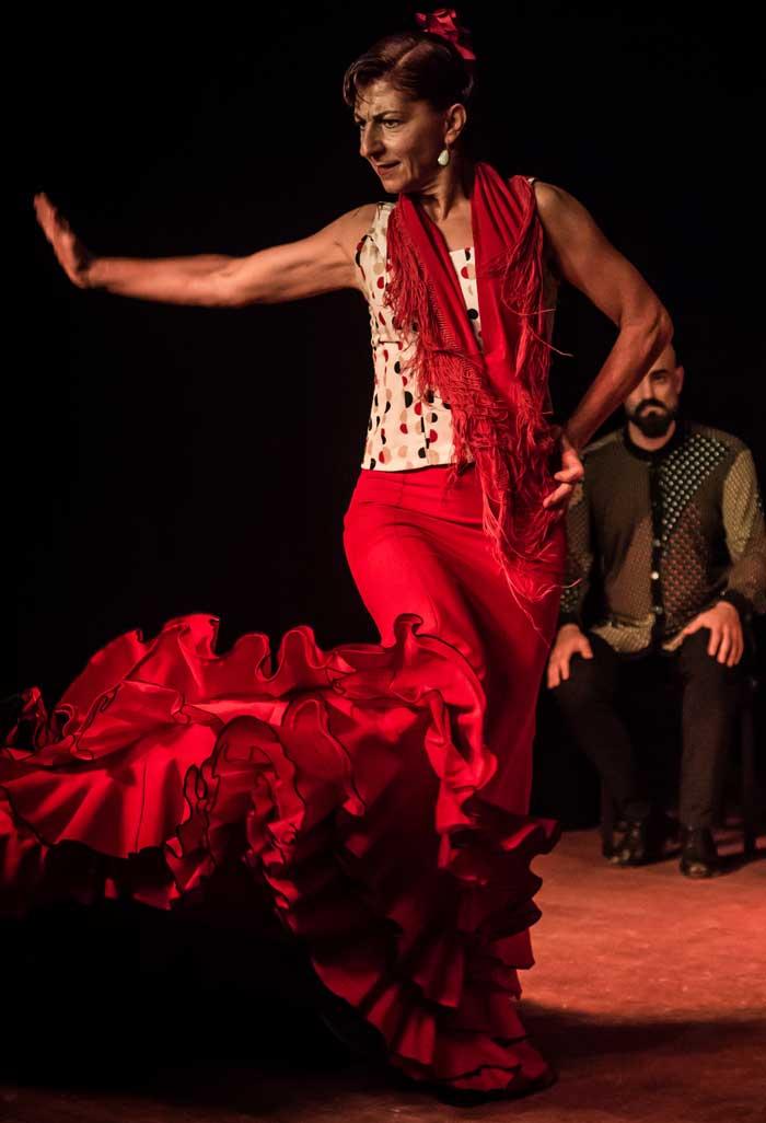 Cuadro flamenco con bailaora sentada en bata de lunares